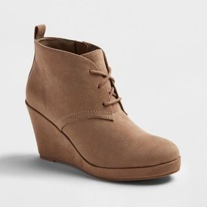 DV suede tan wedge booties